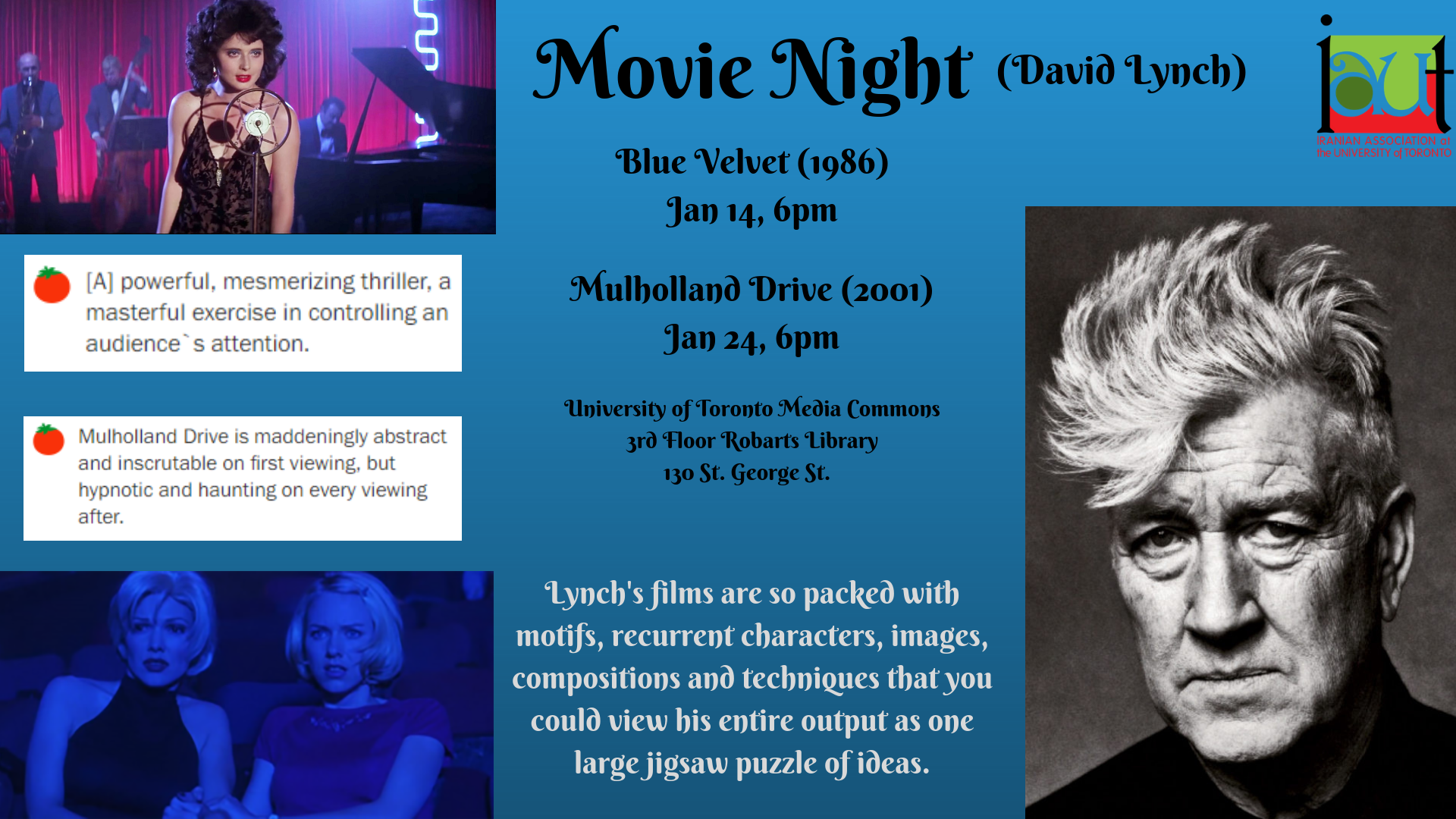 IAUT Movie Night: David Lynch Films
